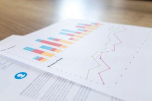 Pieces of paper with financial graphs and charts